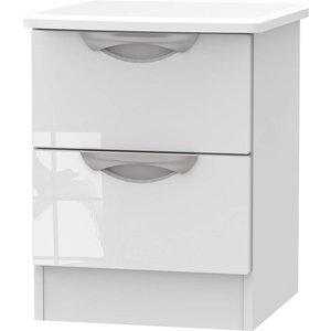 None Portofino White Gloss 2 Drawer Bedside Cabinet Furniture, White