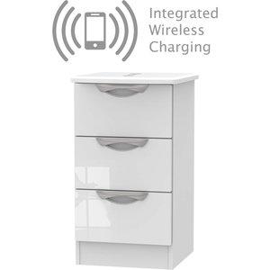 None Portofino White Gloss 3 Drawer Bedside Cabinet - Rechargeable Furniture, White