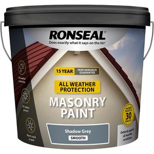 Ronseal All Weather Masonry Paint Shadow Grey 10l Painting & Decorating, Grey