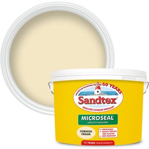 Sandtex Ultra Smooth Masonry Paint - Cornish Cream - 10l Painting & Decorating, Cream