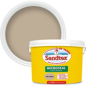 Sandtex Ultra Smooth Masonry Paint - Mid Stone - 10l Painting & Decorating, Natural