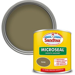 Sandtex Ultra Smooth Masonry Paint - Olive - 150ml Painting & Decorating, Green