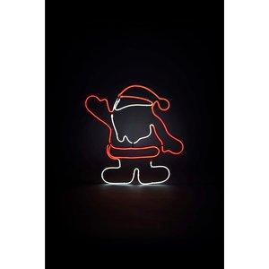 Homebase Santa Neon Red 2d Christmas Silhouette Light - 50cm Decorations, Red