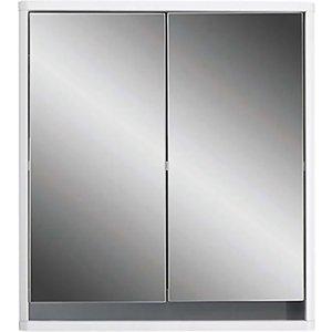 Lloyd Pascal Senna Double Door Mirrored Bathroom Cabinet - White Bathrooms & Accessories, White