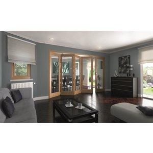 Jeldwen Shaker Oak 1 Light Clear Glazed Interior Folding Doors 4 X 1 2047 X 3158mm General Household, Brown