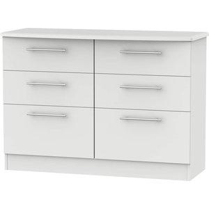 None Siena Grey Matt 6 Drawer Midi Chest Furniture, Grey