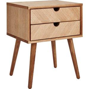 Homebase Sonia 2 Drawer Bedside Table Furniture, Mid tone wood