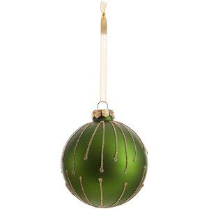 None Starburst Matt Glass Christmas Tree Bauble - Green Decorations, Green