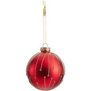 None Starburst Matt Glass Christmas Tree Bauble - Red Decorations, Red