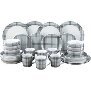 None Tartan 30 Piece Dinner Set - Grey Cookware & Utensils, Grey