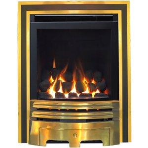 The Geneva Brass Duo Full Depth High Efficiency Gas Fire Garden, Brown