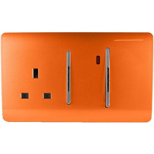 Trendi Switch 45amp Cooker Switch & Socket In Orange Diy, Orange