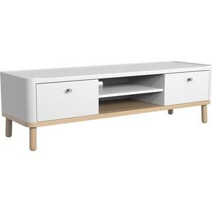 House Beautiful Trua Oak Wide Tv Unit Furniture, White