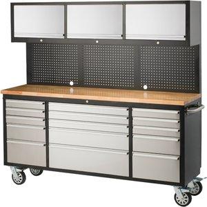 Ultimate Storage 72in Garage Workstation Tool Trolley Diy, Silver