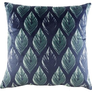 None Velvet Leaf Print Cushion - Royal Blue Home Accessories, Blue