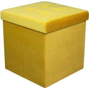 None Velvet Ottoman - Ochre - 40x40x40cm Home Accessories, Yellow