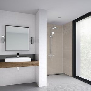 None Wetwall Coffee - 1220mm - Shower Panel - Composite Showers, Brown