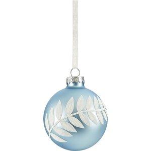 None White Leaf Matt Glass Christmas Tree Bauble - Blue Decorations, Blue