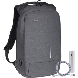 Kingsons Smart Anti Theft Usb Series 15.6 Laptop Backpack And Power Bank Bundle - Dark Gre Ks3149w Dg+map043 153