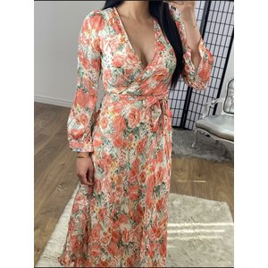Bows Boutiques Carrie Rose Detailed Tie Waist Summer Maxi Dress - Coral Carrie Rose Maxi Dress R9979 Coral 8 Womens Clothing, Coral
