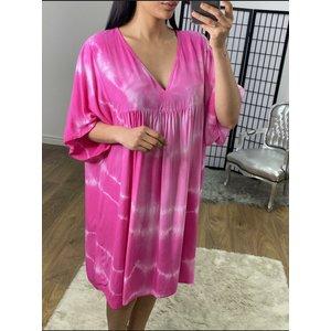 Bows Boutiques Chasie Tie Dye Floaty Smock Dress - Fuschia Chasie Tie Dye Smock Dress 20061 Fuschia Womens Clothing, Fuschia