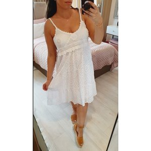 Bows Boutiques Coladina Crochet Detailed Ebroidery Summer Dress - White Coladina Crochet Dress 8424 White Womens Clothing, White