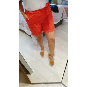 Bows Boutiques Giveny Embroidery Anglaise Tie Waist Shorts - Coral Giveny Shorts 09005 Coral Womens Clothing, Coral