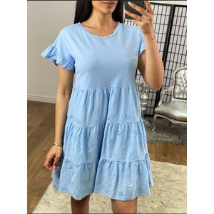 Bows Boutiques Kadenza Crochet Detailed Tiered Smock Dress - Baby Blue Kadenza Dress 1851 Baby Blue Womens Clothing, Baby Blue