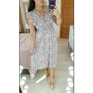 Bows Boutiques Katrin Lilac Floral Elasticated Frill Sleeve Midi Swing Dress  Katrin Lilac Swing Dress 8904 10 Womens Clothing