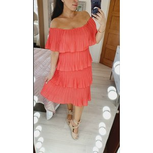 Bows Boutiques Lola Frill Pleated Bardot Midi Dress - Coral Lola Frill Pleated Bardot Midi Dress Coral 8/10 Womens Clothing, Coral