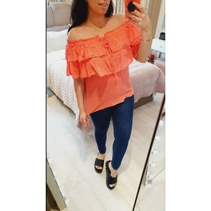 Bows Boutiques Maireed Ruffle Tie Waffle Bardot Top  - Coral Maireed Bardot Top 3407 Coral Womens Clothing, Coral