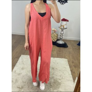 Bows Boutiques Mayleen Andy Pandy Tie Back Linen Jumpsuit  - Coral Mayleen Linen Jumpsuit 10099 Coral Womens Clothing, Coral