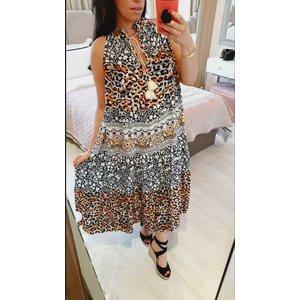 Bows Boutiques Reha Leopard Printed Detailed Tie Neck Tassle Maxi Dress - Black Reha Print Dress 21670 Black Womens Clothing, Black