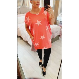 Bows Boutiques Romola Oversized Star Printed Batwing T-shirt  - Coral Romola Star T Shirt  Coral Womens Clothing, Coral