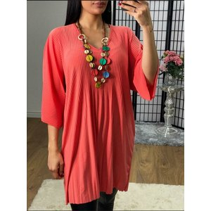 Bows Boutiques Saveah Ribbed Slinky Oversized Necklace Top  - Coral Saveah Necklace Top Ribbed 2038 Coral Womens Clothing, Coral