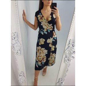 Bows Boutiques Shaynie Floral Print Waist Tie Wrap Dress - Navy Shayniefloralprintwaistwrapdress Navy 8/10 Womens Clothing, Navy