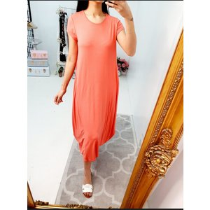 Bows Boutiques Shiley Oversized Drape Side Tie Knot Plain Dress - Coral Shileydress0078 Coral Womens Clothing, Coral