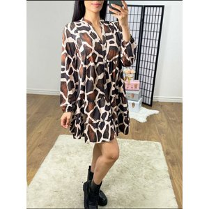 Bows Boutiques Sophey Giraffe Printed Smock Dress - Rust Sophey Dress 10975 Rust Womens Clothing, Rust