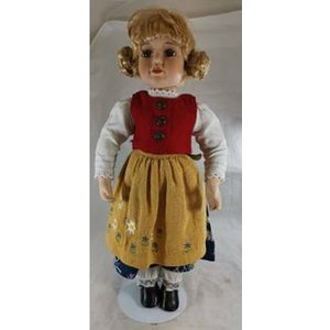 Blonde Doll With Red Waistcoat And Floral Dress Dolls