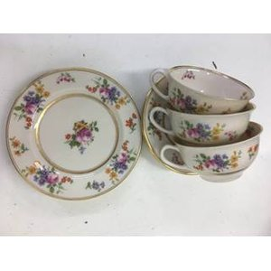 Coxon Belleek China Tea Set 3 Footed Cups & Saucers 3 Bread & Butter Plates Home Accessories