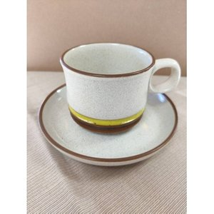 Denby Cup And Saucer. Cream And Brown Potter Wheel. Home Accessories
