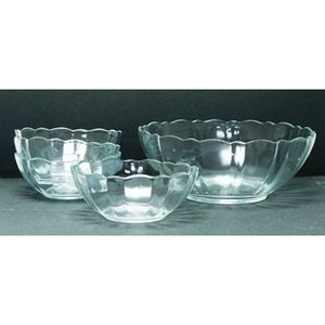 Four Arcoroc Fruit Salad Dishes With One Large Matching Serving Bowl Home Accessories