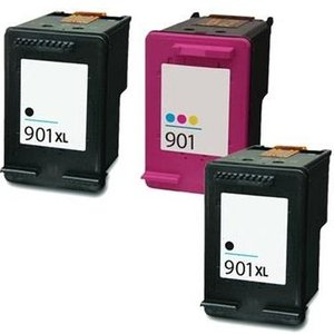 Printerinks Compatible Multipack Hp Officejet 4500 All-in-one - G510a Printer Ink Cartridges (3 Pack)  Hp 2r 901xlbk/901cl 15418 Printer Consumables