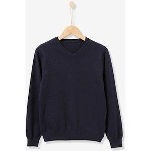 Vertbaudet Boy's V-neck Sweater Grey Marl 707000493 Jumpers