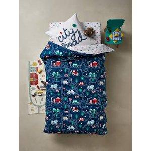 Vertbaudet Children's Duvet Cover + Pillowcase Set, City Road Theme Blue Dark All Over Printed 704060723 Duvet Covers