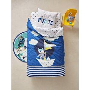 Vertbaudet Children's Glow-in-the-dark Duvet Cover & Pillowcase Set, Tiny Pirate Theme Blue Dark Soli 704060525 Duvet Covers