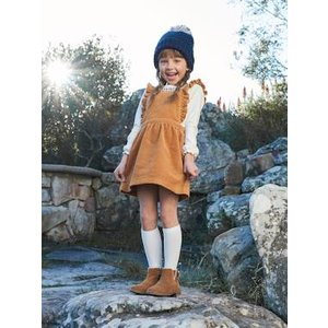 Vertbaudet Corduroy Pinafore Dress & Embroidered Top Ensemble For Girls Yellow Dark Solid 702030287