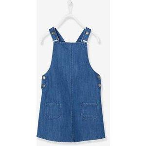 Vertbaudet Denim Dungaree Pinafore Dress, For Girls Blue Dark Solid 702130651