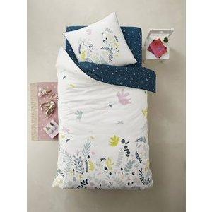 Vertbaudet Duvet Cover + Pillowcase Set For Children, Botanique White Light Solid With Design 704060731 Duvet Covers