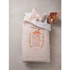 Vertbaudet Duvet Cover + Pillowcase Set For Children, Home Love Pink Medium Solid With Desig 704060728 Duvet Covers